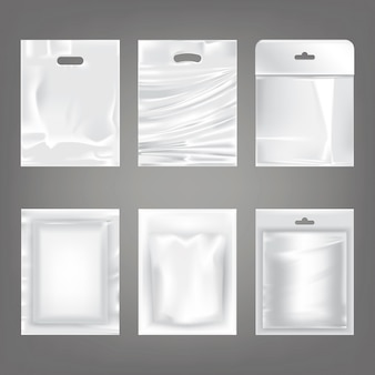 Set of vector illustrations of white plastic empty bags, packaging
