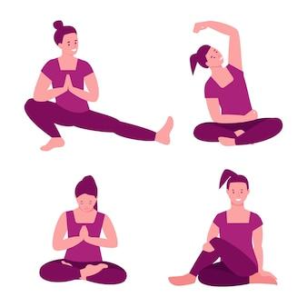 Набор векторных иллюстраций йоги. женщина, практикующая йогу. иллюстрация в плоском мультфильме. отдельный на белом фоне.