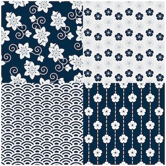 파란색 꽃 개념으로 전통적인 일본 완벽 한 패턴의 벡터 이미지 세트