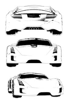 Набор векторных изображений концептуального спортивного автомобиля. виды с разных сторон.