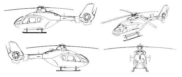 Набор векторных изображений современного гражданского легкого вертолета.