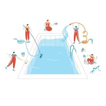 도구로 수영장을 청소하는 남자의 벡터 격리 그림 세트