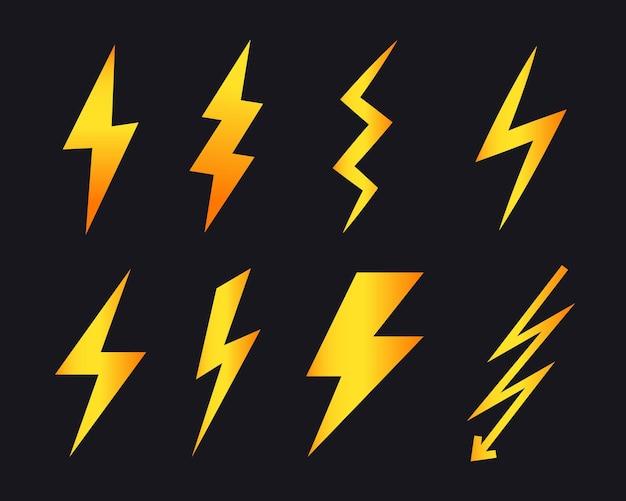Набор векторных иконок молнии. простой плоский символ молния. удар молнии, удар молнии.