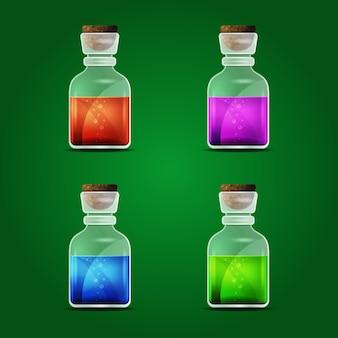 녹색 배경에 벡터 마법의 묘약의 집합입니다. 화학적이고 신비한, 플레어와 음료. 벡터 일러스트 레이 션