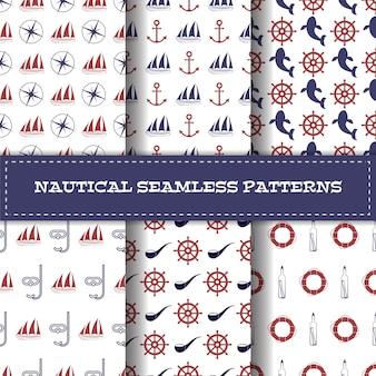 航海のシームレスパターンベクトルのセット