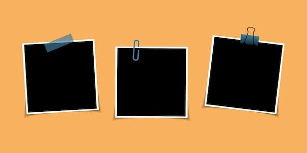 투명 한 배경에 고립 된 스티커 테이프에 벡터 사진 프레임 디자인의 집합