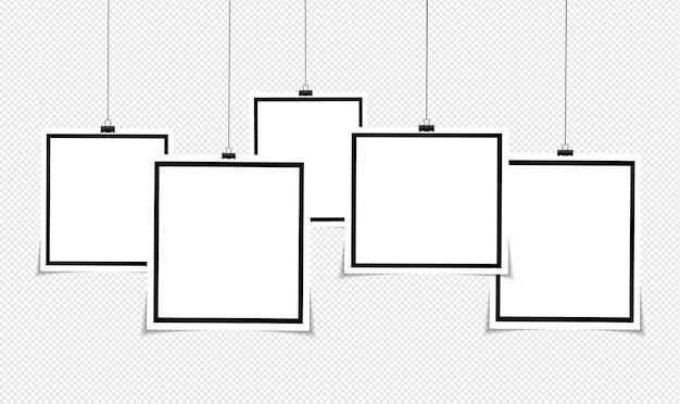 Набор векторных фоторамка дизайн на липкой ленте, изолированные на прозрачном фоне