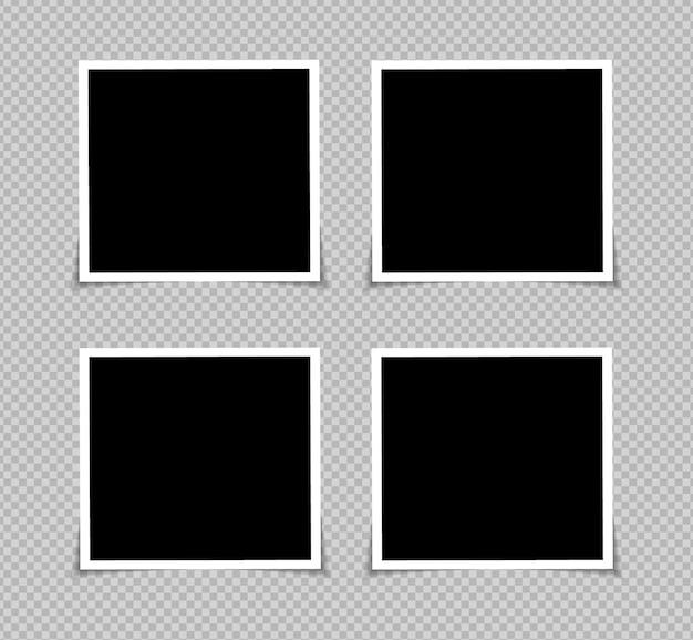 透明な背景に分離された粘着テープのベクトルフォトフレームモックアップデザインのセット