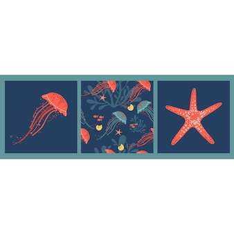 Набор векторных плакатов с нарисованными от руки розовыми морскими звёздами медуз и узором с медузами и водорослями
