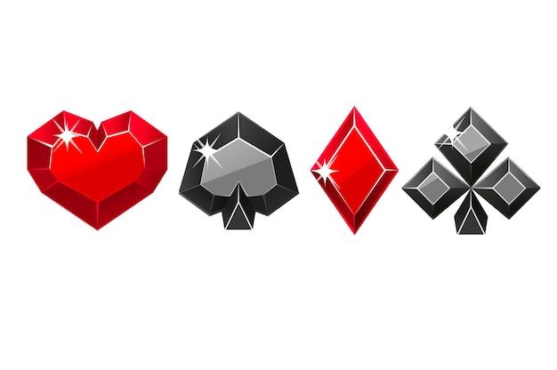Набор векторных драгоценных черно-красных мастей карты. алмазные иконки символы казино для игры.