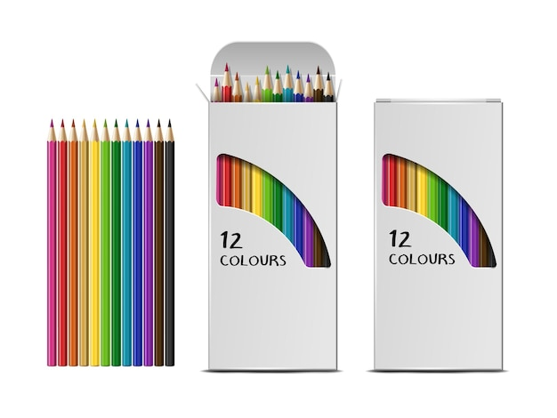 白い背景で隔離の色鉛筆のベクトル現実的なボックスのセットです。色鉛筆で開いたパッケージと閉じたパッケージ。グラフィックのテンプレート、クリップアート、またはモックアップをデザインします。上面図
