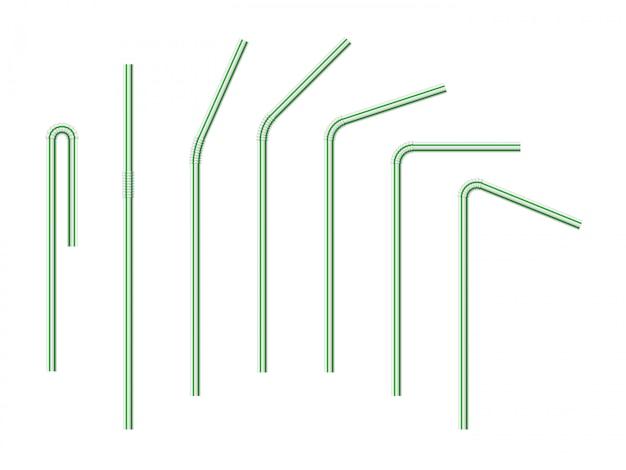 Набор векторных реалистичные полосатые трубочки
