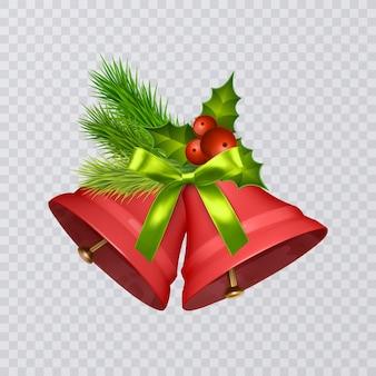 透明な背景で隔離のリアルな弓とヒイラギとベクトルの赤いクリスマスの鐘のセット