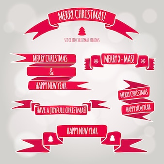クリスマスと新年の挨拶とベクトル赤いリボンのセット