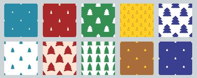 Набор векторных бесшовные рождественские простые образцы с елками.