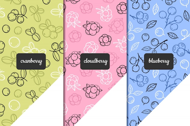 環境に優しい製品のためのベクトルシームレスパターンのセットです。クランベリー、クラウドベリー、ブルーベリーのベリーパターン。手描きスタイル