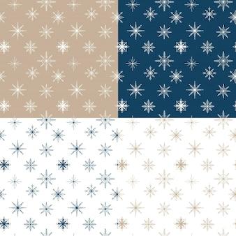 雪片とベクトルシームレスパターンのセット