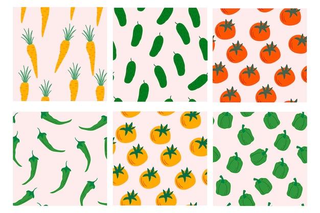 종이 커버 섬유 장식에 대 한 야채 디자인 벡터 원활한 패턴의 집합