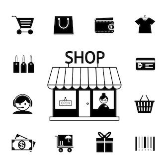 Набор векторных иконок для покупок в черно-белом цвете с тележкой, кошелек, магазин, магазин, магазин, магазин, деньги, подарок, и штрих-код, изображающий консьюмеризм и розничные покупки