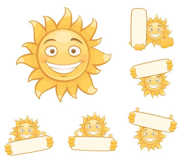ベクトル笑顔の太陽のセットです。白い背景に分離