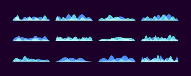 Набор векторных звуковых волн, неоновые красочные цифровой музыкальный бар.
