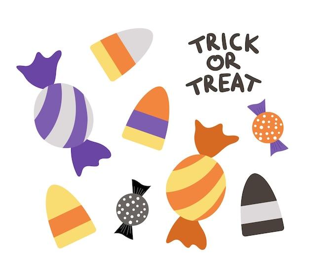 Набор векторных сладостей для игры кошелек или жизнь. традиционная еда для вечеринки в честь хэллоуина. коллекция страшных карамельных конфет. набор полосатых фиолетовых и оранжевых десертов. осенний праздник дизайн