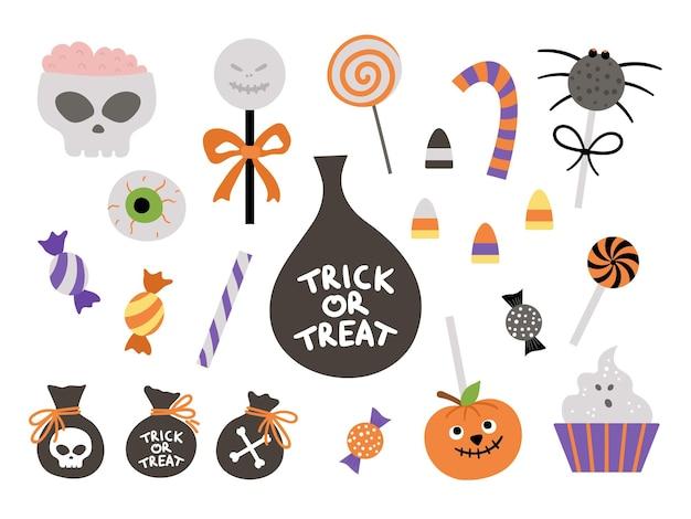 トリックオアトリートゲーム用のベクトルのお菓子のセット。伝統的なハロウィーンパーティー料理。怖いロリーポップ、キャラメル、キャンディースティックコレクション。スパイダー、ゴースト、頭蓋骨の形をしたデザートパック。秋の休日のデザイン