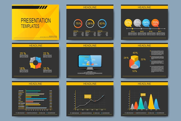 Набор векторных шаблонов для слайдов презентации