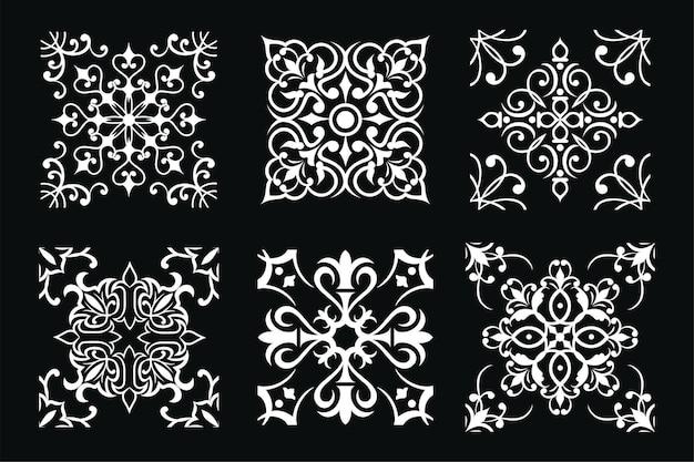 黒と白のデザインのベクトルタイルのセット