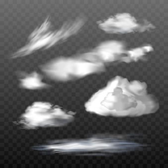 Set of vector translucent clouds of various types