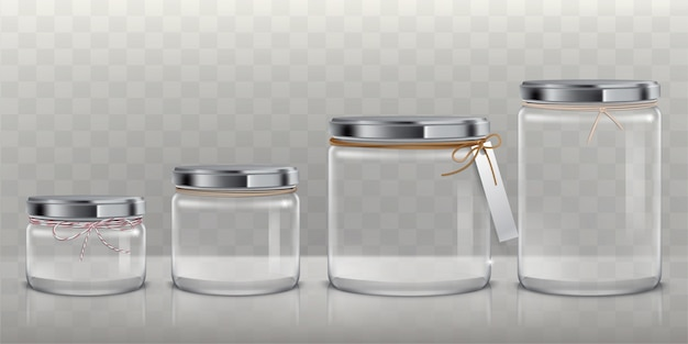 Набор векторных прозрачных стеклянных банок для хранения пищевых продуктов, консервирования и консервирования,