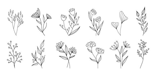 ベクトルヴィンテージ花の要素のセットです。