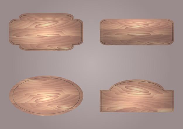 Набор векторных деревянных досок с местом для текста