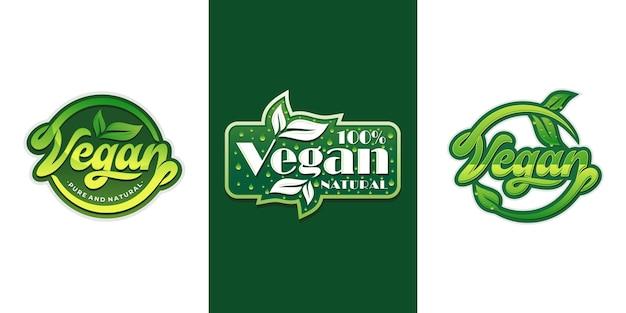 채식주의 자 로고 컬렉션 세트