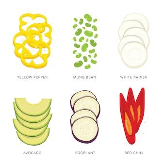 야채 조각의 집합입니다. 유기농 건강 식품 격리 된 요소 그림입니다. 프리미엄 벡터