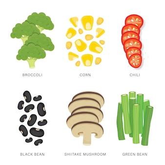 野菜スライスのセットです。有機的で健康的な食品は、要素の図を分離しました。
