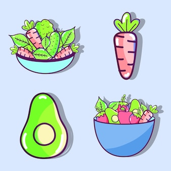 야채와 과일 오르간 음식 세트