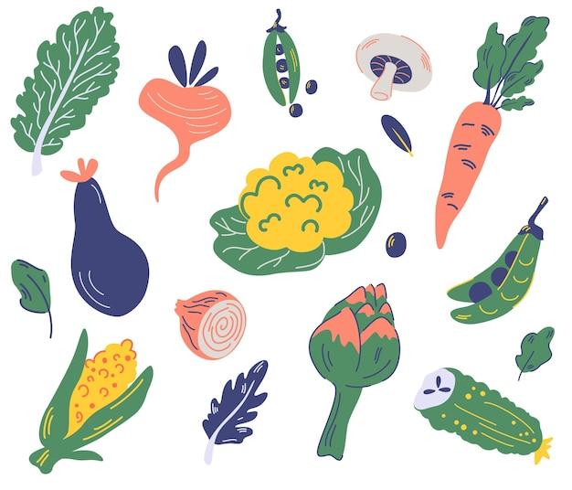 野菜のセット。カリフラワー、レタス、ナス、エンドウ豆、にんじん、大根、とうもろこし、アーティチョーク、きのこ、玉ねぎ、きゅうり。有機で健康的な食品。新鮮な様々なおいしいベジタリアン野菜。ベクトル