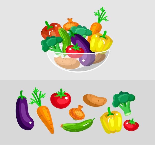 야채 세트. 에코 음식 그림.