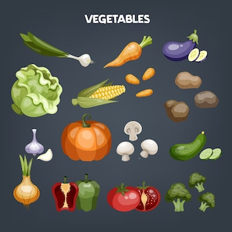 Набор овощей. свежие органические продукты. брокколи и морковь