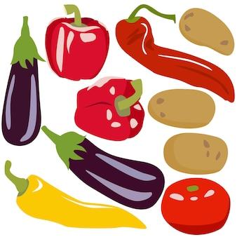 평평한 스타일의 야채 신선한 야채 감자 고추 가지와 토마토 세트