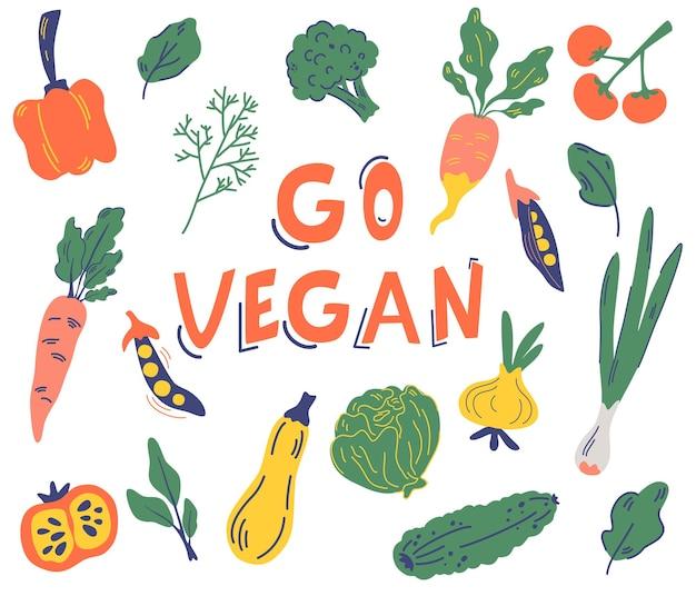 野菜のセット。ビーガンに行きなさい健康食品、天然物店、オーガニック市場向けのさまざまな野菜とスローガン。ビーガン、農場、デトックス。エコ製品。フラット漫画スタイルのベクトルイラスト。