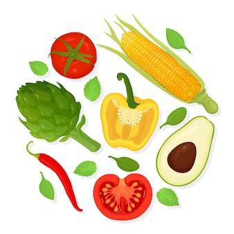 野菜のセット。食料品のコレクション。トマト、アーティチョーク、トウモロコシ、アボカド
