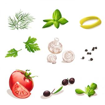 Набор овощей на белом фоне укроп, петрушка, помидор, грибы, оливки, базилик, черный перец.