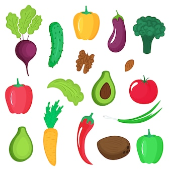 Набор овощей, корней и орехов. паприка, авокадо, огурец, брокколи, морковь, баклажан, грецкий орех, кокос, помидор, миндаль