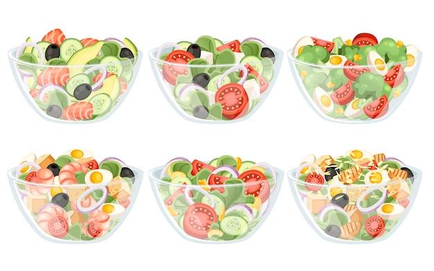 고립 된 그릇 그림에서 다른 재료 샐러드와 야채 샐러드 세트