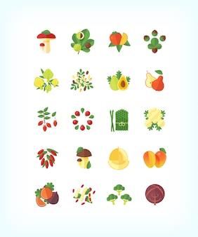 Набор вегетарианских органических продуктов. набор иконок фруктов и овощей.