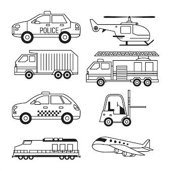 公共交通機関と貨物と航空輸送の車両セット