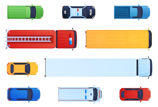 Набор транспортных средств, вид сверху. грузовик, скорая помощь, полиция, пожарная машина, легковые автомобили. дорожное движение