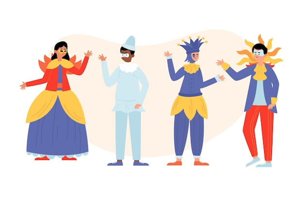 Набор костюмов персонажей венецианского карнавала